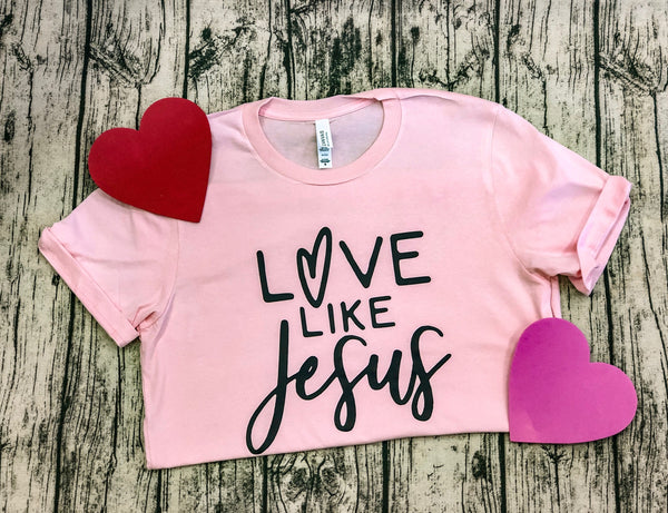 Love Like Jesus- Bella Canvas Light Pink Unisex