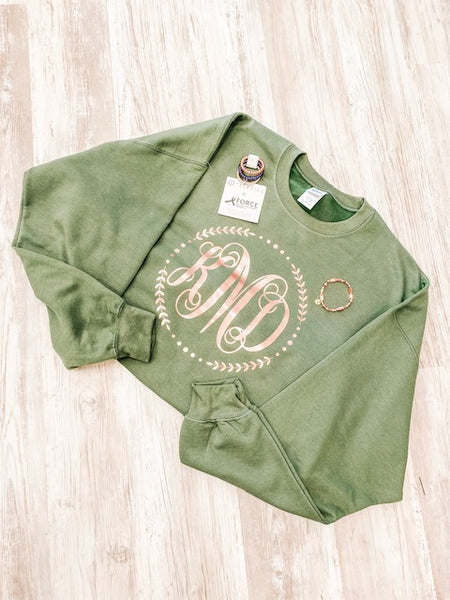 Military Green Sweatshirt with Rose Gold Monogram