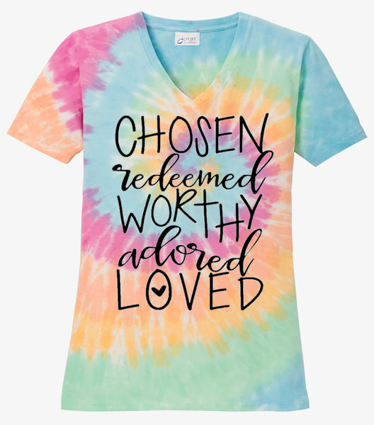 Chosen Redeemed Worthy Loved - Pastel Rainbow Tie Dye