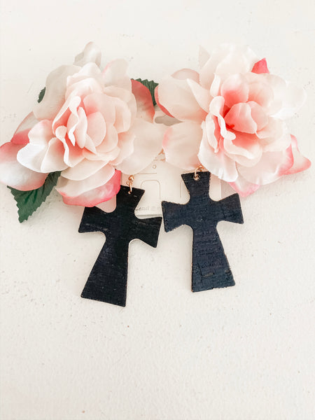 Cork Cross Earrings in Black