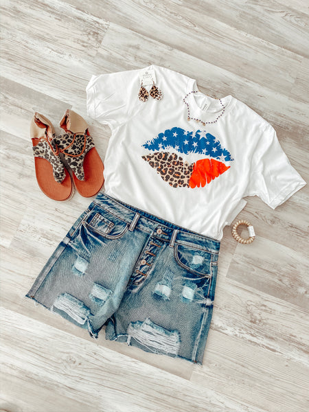 USA Lips - White Tee