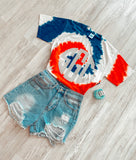 USA Tie Dye Rainbow with Big Monogram