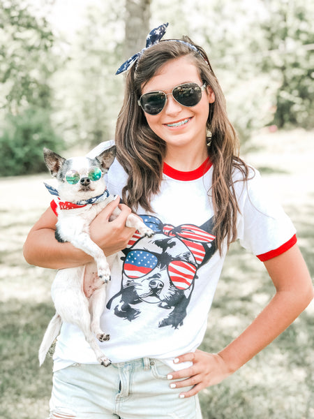 Chihuahua with Flag Bandana & Glasses Tee
