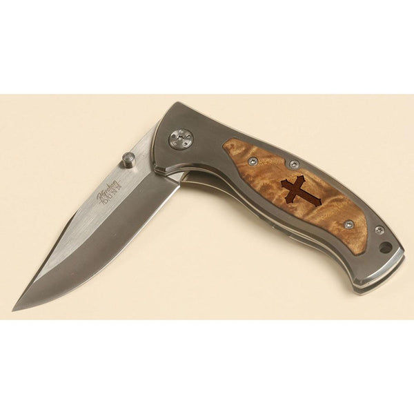 Inspirational Pocket Knife - with Cross on handle (KNF76)