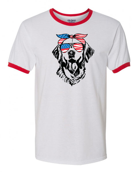 Retriever with Flag Bandana & Glasses Tee