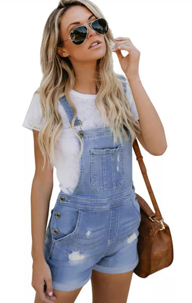 Light Blue Denim Cotton Overalls