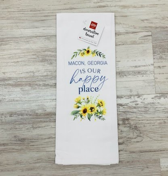 TEA TOWEL - MACON, GEORGIA IS OUR HAPPY PLACE