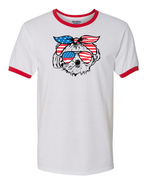 Maltese with Flag Bandana & Glasses Tee