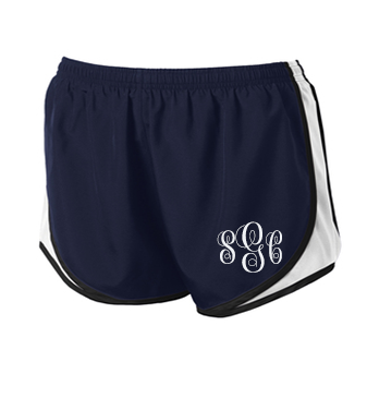 Monogrammed Athletic Shorts - Navy/White