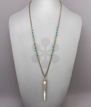 Stone & Horn Necklace- Turquoise/Ivory/Gold - Southern Grace Creations