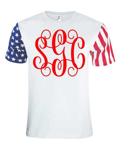 Proud American Monogram Tee - Southern Grace Creations