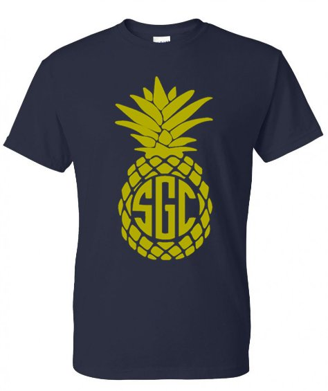 PINEAPPLE MONOGRAM TEE - Southern Grace Creations