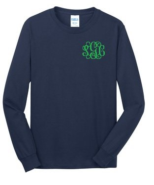 Long Sleeve Tee with left chest embroidered Monogram - Southern Grace Creations