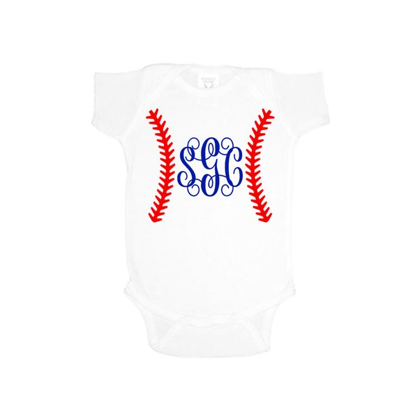 Baseball Monogram Onesie - Southern Grace Creations
