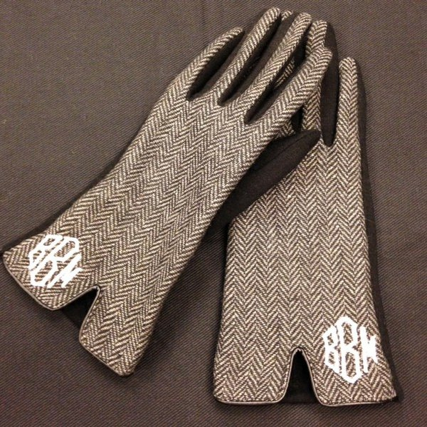 Monogrammed Gloves - Herringbone print - Southern Grace Creations