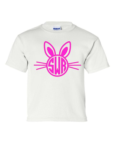 Rabbit with Whiskers Monogram - Easter - Southern Grace Creations