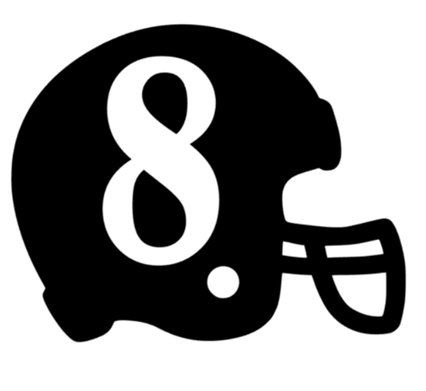Football Helmet with Number Decal