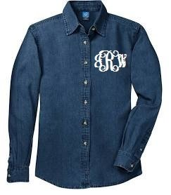 Long Sleeve Denim with Embroidered Monogram - Southern Grace Creations