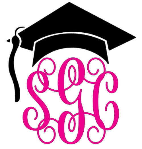 Graduation Cap Monogram Decal - Southern Grace Creations