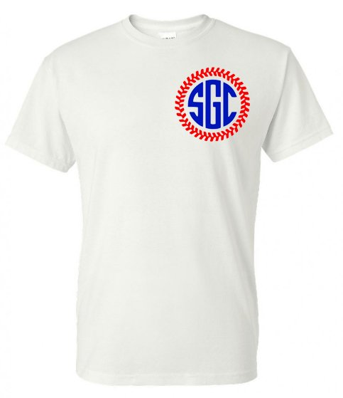 Baseball Stitches Circle Monogram Tee - Southern Grace Creations