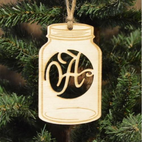 Mason Jar Letter Ornament. - Southern Grace Creations