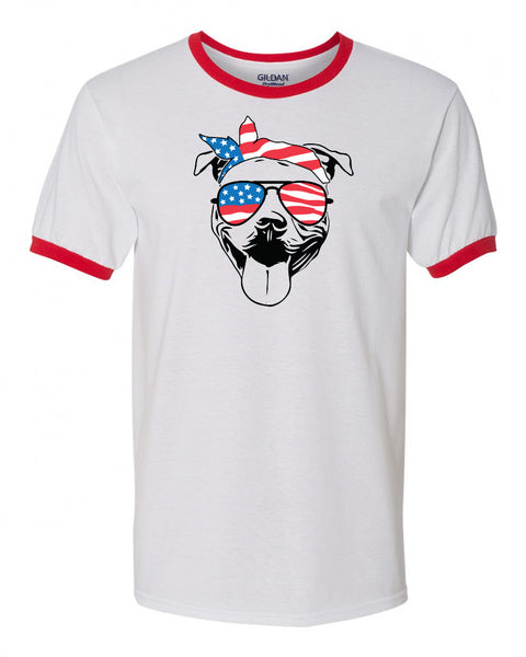 Pitbull with American Flag Bandana & Glasses Tee fourth of july memorial day labor day
