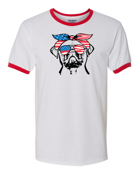 Pug with Flag Bandana & Glasses Tee