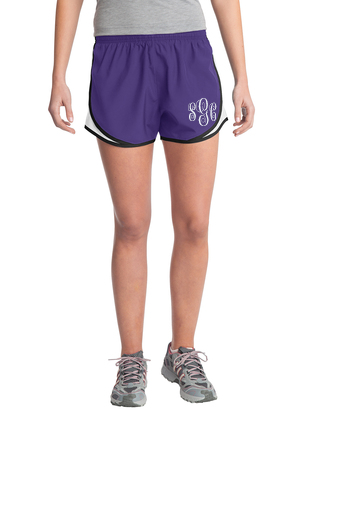 Monogrammed Athletic Shorts - Purple/White