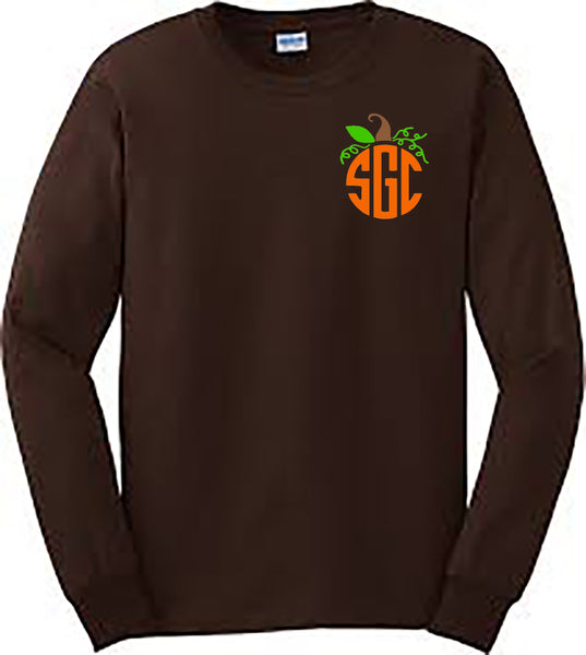 Pumpkin Monogram Tee (LEFT CHEST) - Dark Chocolate Longsleeve southern grace creations