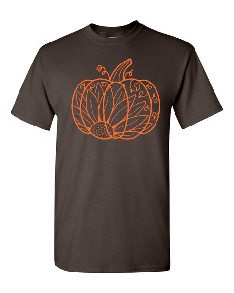 Pumpkin Sunflower Mandala - Dark Chocolate Tee