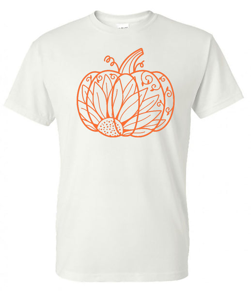 Pumpkin Sunflower Mandala - White Tee