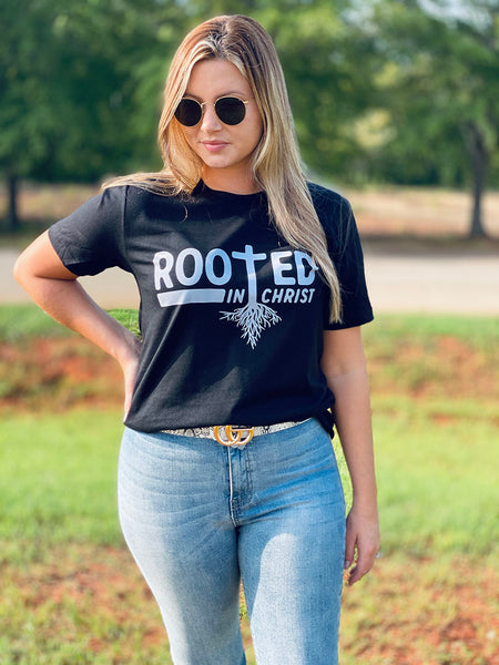 Rooted In Christ Tee - Black  Southern Grace Creations