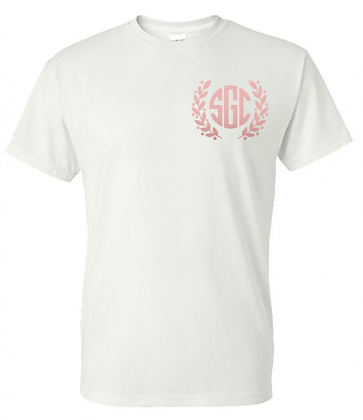 ROSE GOLD LAURAL MONOGRAM - WHITE SHORT SLEEVE TEE