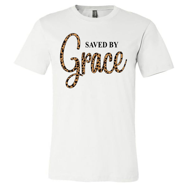 Saved By Grace - White Short Sleeve Tee