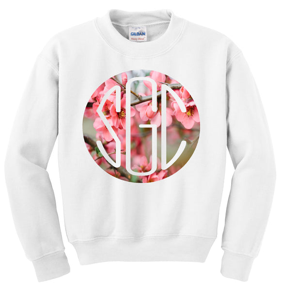 SPRING BLOSSOM ROUND MONOGRAM PRINTED SHIRT - Southern Grace Creations