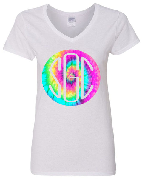 TIE DYE PASTEL ROUND MONOGRAM SHIRT - Southern Grace Creations