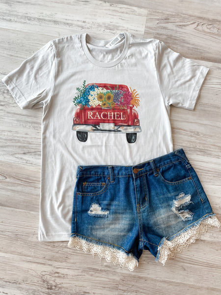 Vintage personalized truck  with name or word- White Tee