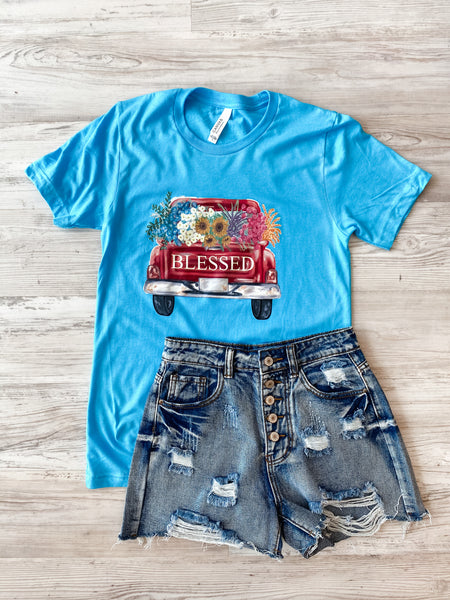 Vintage Personalized Truck - Turquoise Tee