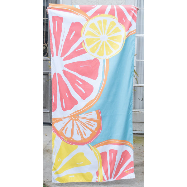 Tutti Fruiti Beach Towel in Aruba Blue/Melon