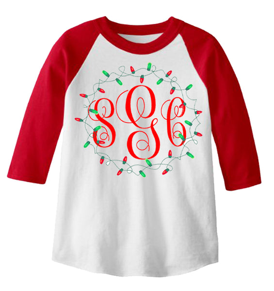 Christmas Lights Monogram - Red/White Raglan - Southern Grace Creations