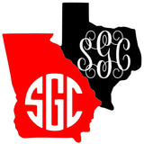 State Monogram Decal - Southern Grace Creations