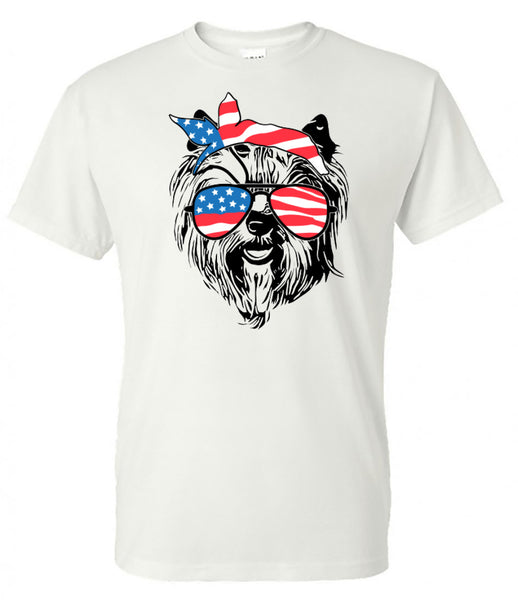 yorkie with American Flag Bandana & Glasses Tee fourth of july memorial day labor day