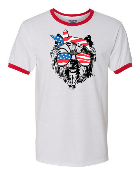 Yorkie with Flag Bandana & Glasses Tee