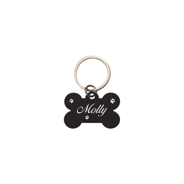 Personalized Bone Dog Tag - Black (Engravable)