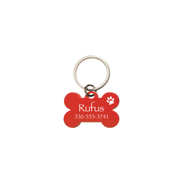 PERSONALIZED BONE DOG TAG - RED