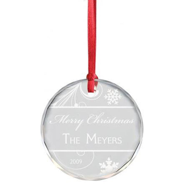 MERRY CHRISTMAS CRYSTAL CIRCLE ORNAMENT - ENGRAVABLE