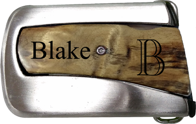 Burl Wood Belt Buckle Knife - Engravable (ZKNV0002) - Southern Grace Creations