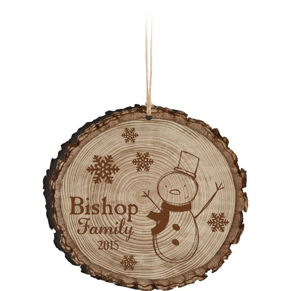 FAUX SLICED LOG ORNAMENT - Engravable (ZORN0001)
