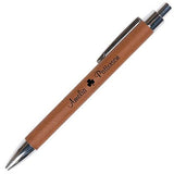 TAN FAUX LEATHER PEN - ENGRAVABLE