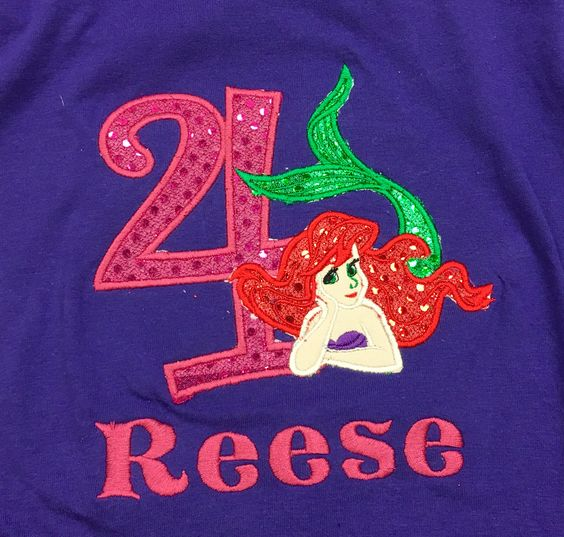 Little Mermaid Inspired Applique Birthday Shirt - Southern Grace Creations